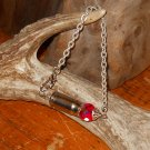Ammo Bracelet 357 Magnum OOAK Shell Casing Bracelet- Red and Silver- Iridescent