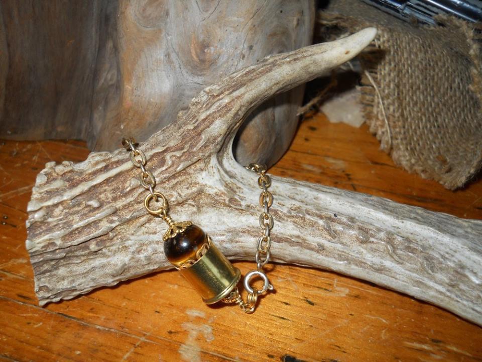 Ammo Bracelet 410 Shotgun OOAK Shell Casing Bracelet- Brown and Gold- Tiger's Eye