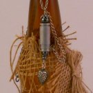 Ammo Locket Bullet Shell Casing and Heart Necklace- Hematite/Bloodstone