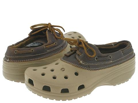 CROCS Khaki Chocolate BROWN Islander Leather shoes M mens 4 W womens 6