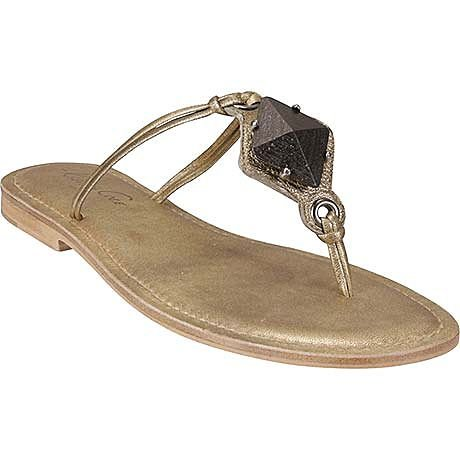 NEW KENNETH COLE Gold Roman Thong Wood Accent LEATHER Sandals 7.5