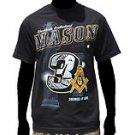 3 DEGREES OF LIGHT MASON  Black  Short sleeve Freemason  Masonic T-Shirt M-4X