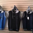 Blue Gray Cotton sleeveless vest hoody jacket Hoodie Hoody jacket Vest M-3X