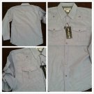 Blue White long sleeve button up shirt Military style roll up sleeve shirt L-2X