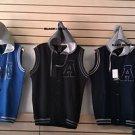 Navy Blue Gray Cotton sleeveless vest hoody jacket Hoodie Hoody jacket Vest M-3X