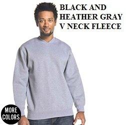 Heather Gray V Neck Fleece sweat shirt PRO CLUB Heavy Crew neck sweat shirt S-7X