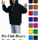 Charcoal Gray Zip Up Hooded Sweat shirt PRO CLUB Adult Zip Up Hoodie Hoody  S-7X
