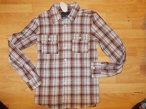 Brownb White long sleeve plaid shirt Sportier long sleeve stripe shirt S