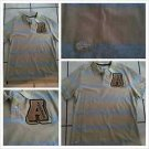 AKADEMIKS Tan Blue stripe Polo Shirt Men's brown short sleeve polo shirt S-XL