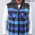 Blue Black Plaid Flannel Vest Plaid sleeveless Vest SYNERGY SLEEVELESS VEST L-4X