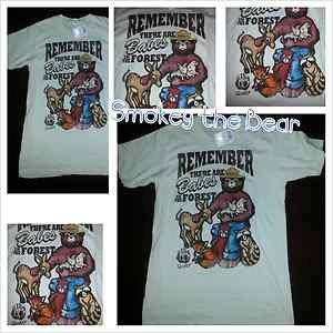 Vintage 80's Smokey the Bear short sleeve beige T shirt Forrest Animal Print S