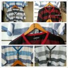 Red Black short sleeve V neck T shirt  Button up Stripe V neck T Shirt S-XL NWT