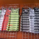 Gray Tan Stripe tank top T- shirt Men's Casual Fashion Tank Top shirt  S-2X