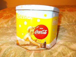 "Coca Cola Tin Canister Lady on beach Coca Cola bottle  5"" Wide x 10"" Tall"
