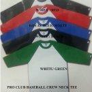 PRO CLUB White Black Long sleeve baseball T shirt  CREW-NECK BASEBALL TEE  S-2X