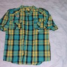 Mens green short sleeve plaid button up shirt Yellow Plaid short sleeve shirt XL