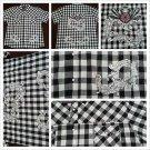 Black White stripe checker design button up short sleeve shirt Atti shirt 2-3X