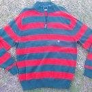 CHAPS orange green stripe Long sleeve sweater Men's zip up pullover sweater L