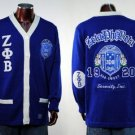 Zeta Phi Beta Blue Long Sleeve Cardigan sweater S-3XL