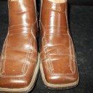 Brown zip up dress shoe boot Mens high top Leather dress shoe Boot  8.5 ZIP UP