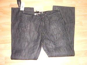 Mens black denim jean pants by Jordan Craig W34X32L Mens black denim jean pants