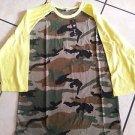 Camouflage Yellow Long sleeve baseball T shirt  CREW-NECK BASEBALL T-SHIRT S-XL