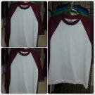 PRO CLUB White Burgundy Long sleeve baseball T shirt  Baseball  shirt S-2X