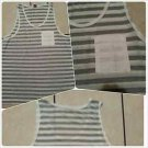 White Gray Pin Stripe tank top T- shirt Men's Casual Fashion Tank Top shirt  XL