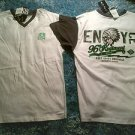 Enyce white gray short sleeve V neck T shirt Gray white short sleeve t shirt L