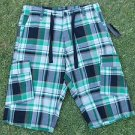 Sean John Green white black cargo shorts  Sean John Plaid cargo shorts W30
