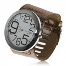 Mens Exquisite Womage Wide Leather Band Quartz Watch with 12 Arabic Numerals