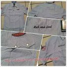 Mens blue white pin stripe short sleeve button up shirt Vintage style shirt  M-2