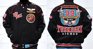 Mens Black long sleeve Tuskegee Airmen jacket M-5X Redtails 99th Squadron Jacket