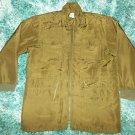 Olive Green long sleeve silk quarter length jacket Light weight silk Jacket L