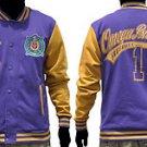 OMEGA PSI PHI Purple Gold fleece Jacket OMEGA PSI PHI PURPLE VARSITY JACKET S-L