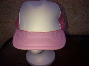 Pink White Trucker Hat Cap Cotton Mesh Snapback Trucker Hat Baseball Cap One SZ