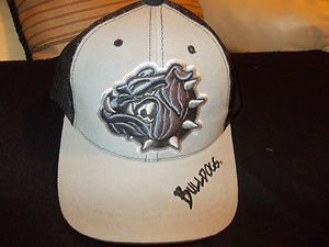 Black Gray Trucker Hat Bulldog Baseball snapback trucker mesh hat Baseball Cap