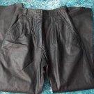 Womens black leather pants Pleated leather pants Leather dress biker pants 7/8