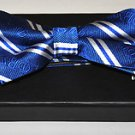 Phi Beta Sigma Blue white Bow Tie 100%  SILK PRE-TIED BOW TIE in Gift Box