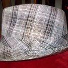 Men Women Unisex Fedora Hat Fedora Hat with Tan black plaid band NEW 56CM NWOT