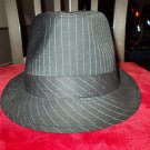 Men Women Unisex Fedora Hat Black Pin Stripe Fedora Hat with Black band NEW