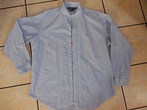 Ralph Lauren Blue long sleeve button up shirt Yarmouth dress Shirt 16 1/2 -35