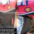 Manchester United Black red Long sleeve track Soccer Jacket MLS Soccer top L-2X