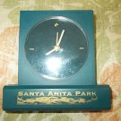 Collectible Santa Anita Park Desk Clock Horse Raceing Blue Pearl Clock Works