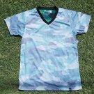 Green Gray Camouflage short sleeve V-neck T-shirt Elxr Camouflage V neck Tee M