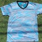 Aqua Gray Camouflage short sleeve V-neck T-shirt Elxr Camouflage V neck Tee 2X