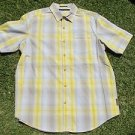 Sean John button up Short sleeve plaid top Yellow White Tan stripe plaid shirt L