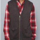 Mens brown sleeveless vest by HOT AIR Mens sleeveless cotton nylon vest  V neck