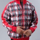 Mens Red long sleeve track jacket by MECCA Red Black Plaid Track Jacket NWT