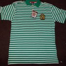 Green White short sleeve polo short ABLANCHE Green stripe polo shirt XL-3XL NWT